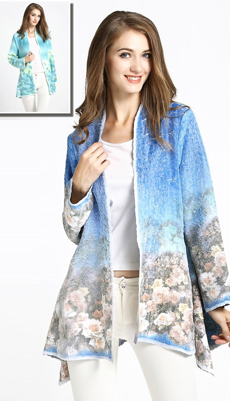 Jerry T 7174 ( 1pc Ladies Jacket With Painterly Floral Print )