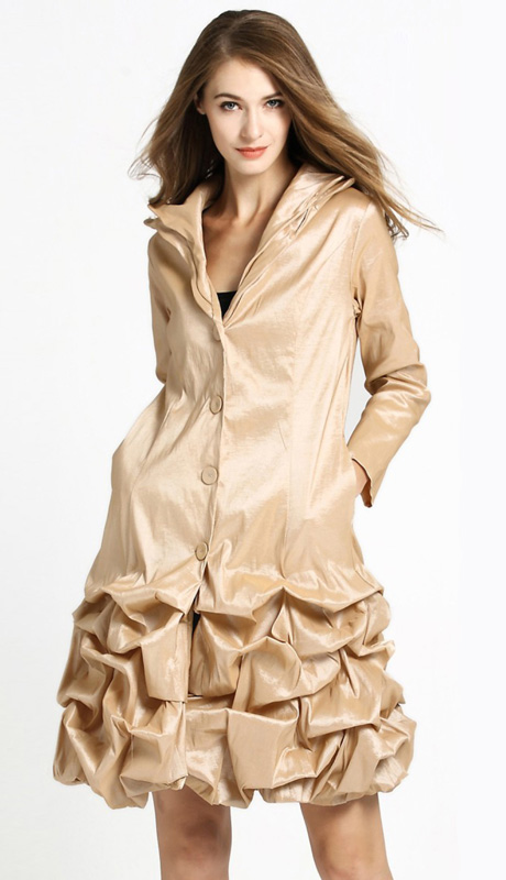 Jerry T 7176-CHA ( 1pc Ladies Long Ruffled Jacket With Buttons And Layered Collar )