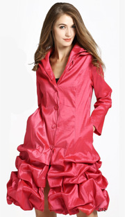 Jerry T 7176-RE ( 1pc Ladies Long Ruffled Jacket With Buttons And Layered Collar )