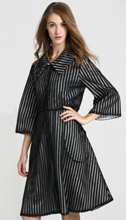 Jerry T 7177 ( 1pc Ladies Long Striped Mesh Dress )