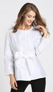 Jerry T 7178-WH ( 1pc Ladies Blouse With Bow )