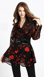 Jerry T 7179-RE ( 1pc Ladies Embroidered Tunic Blouse )