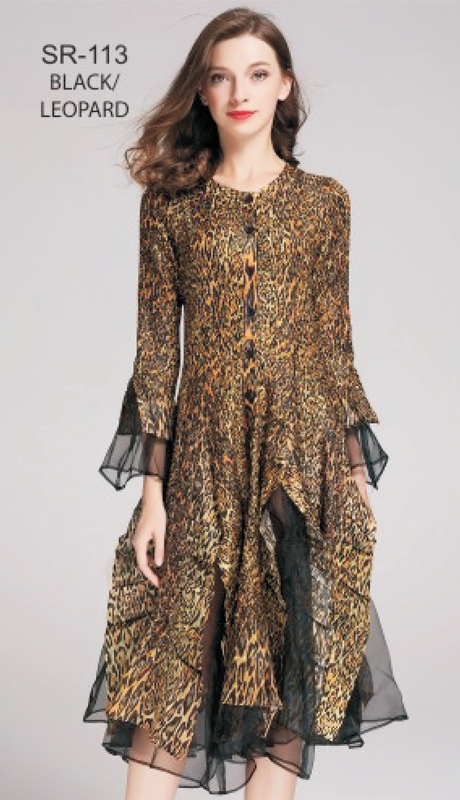 Jerry T SR-113-BL ( 1pc Black Leopard Button-Front Bell-Sleeve Dress )