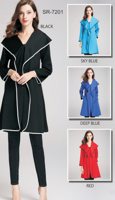 Jerry T SR-7201-BK ( 1pc Oversize-Collar Coat )