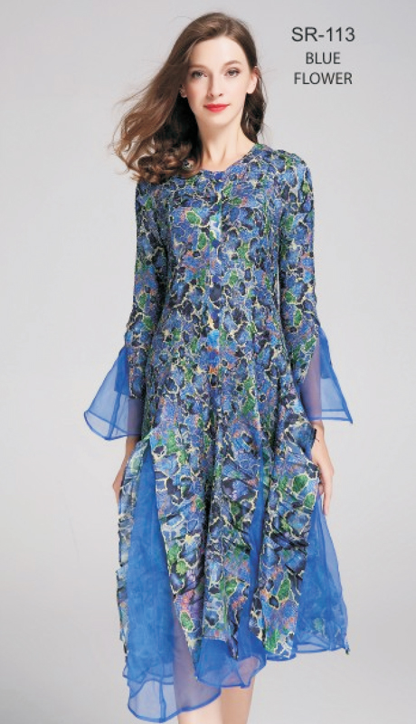 Jerry T SR-113-BF ( 1pc Blue Flower Button-Front Bell-Sleeve Dress )