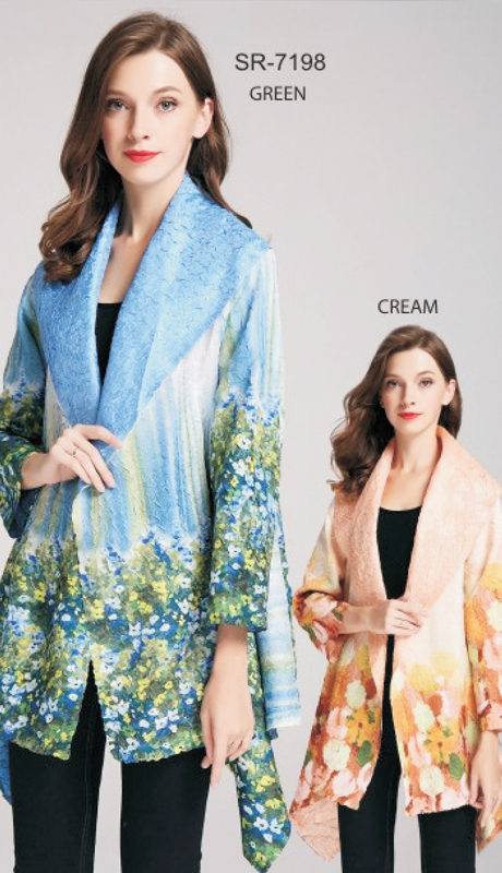 Jerry T SR-7198-GR ( 1pc Blue Green Floral Asymmetrical Open Cardigan )