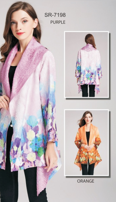 Jerry T SR-7198-PU ( 1pc Floral Asymmetrical Open Cardigan )