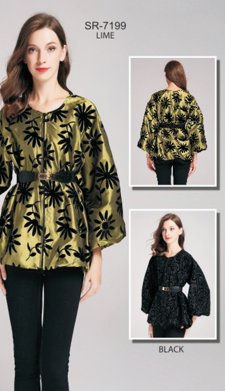 Jerry T SR-7199-LM ( 1pc Floral Puff-Sleeve Belted Jacket )