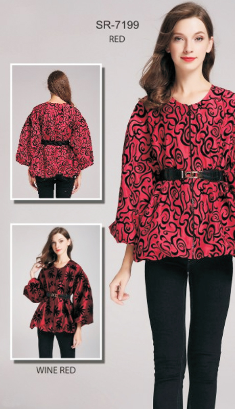 Jerry T SR-7199-RE ( 1pc Floral Puff-Sleeve Belted Jacket )
