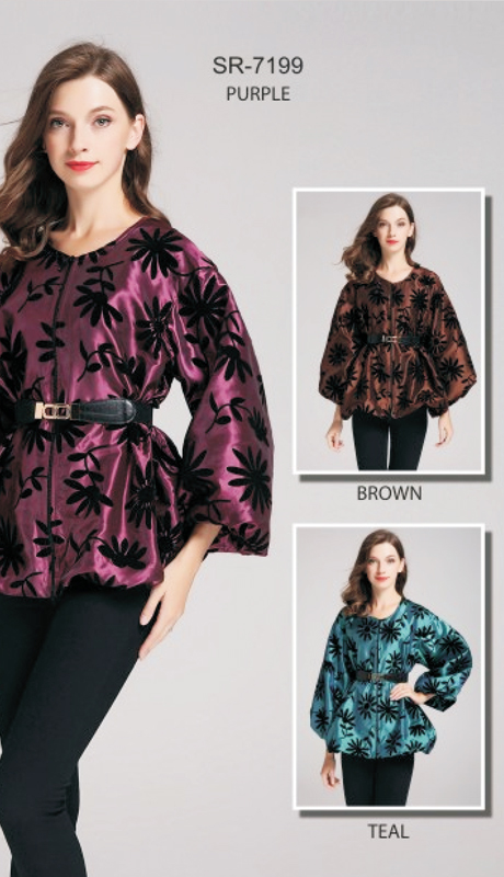 Jerry T SR-7199-PU ( 1pc Floral Puff-Sleeve Belted Jacket )