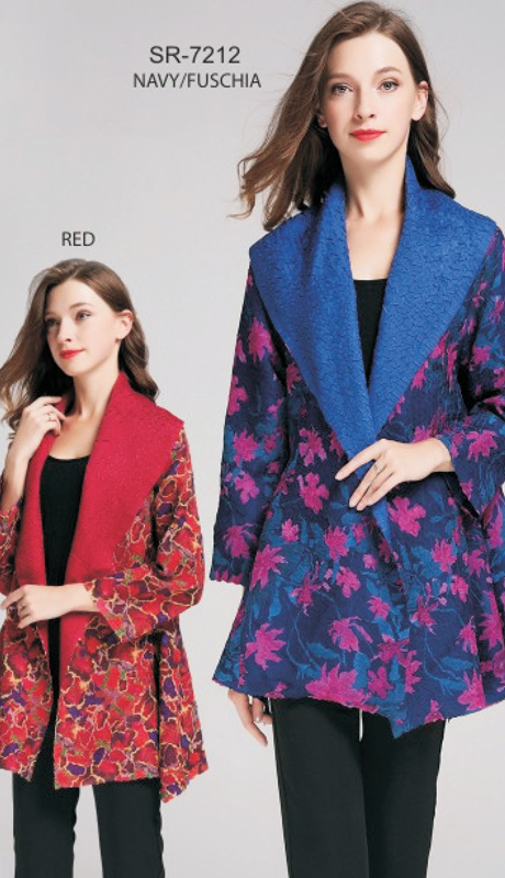 Jerry T SR-7212-NF ( 1pc Red And Multi Floral Asymmetrical Open Cardigan )