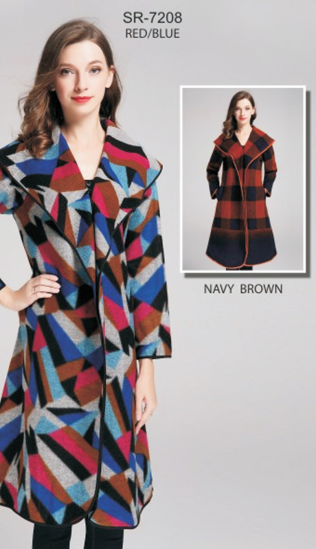 Jerry T SR-7208-RB ( 1pc Graphic Print Zipper Up Coat )