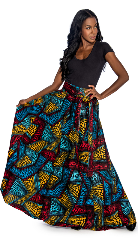 Giovanna 1012-AS ( 1pc Womens Skirt With Wax Print And Elastic Waist )