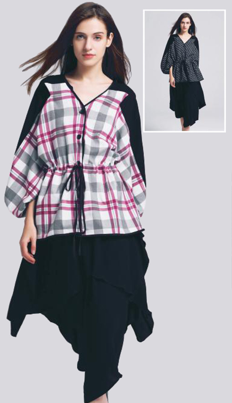 Jerry T SR-7228 ( 1pc Tie-Waist Top With Long Sleeves )