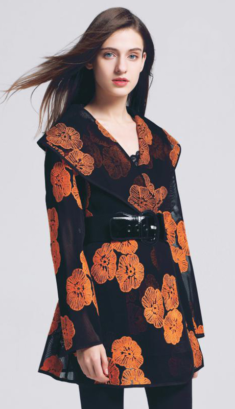 Jerry T SR-7218-BO ( 1pc Floral Sheer Belted Jacket )
