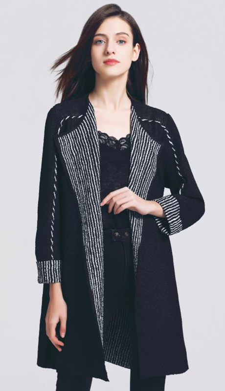 Jerry T 7235-BK ( 1pc Crinkle Asymmetrical Open Reversible Cardigan )
