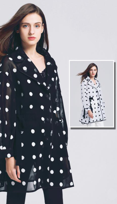 Jerry T SR-7238-BW ( 1pc Polka Dot Sheer Long Sleeve Jacket )