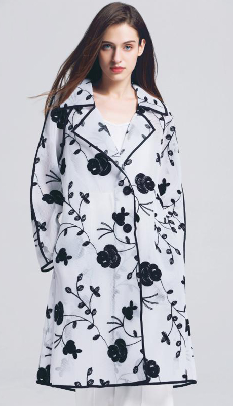 Jerry T SR-7234-WB ( 1pc Floral Sheer Two Button Jacket )