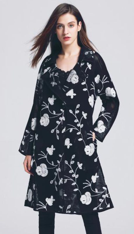 Jerry T SR-7234-BW ( 1pc Floral Sheer Two Button Jacket )