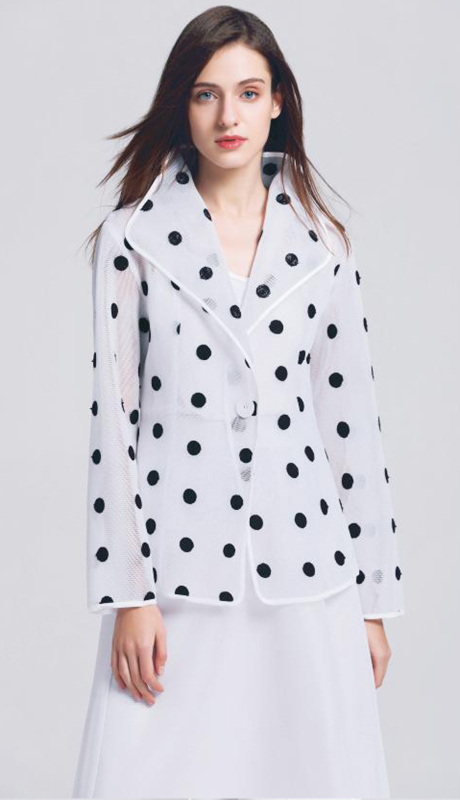 Jerry T SR-7225-WB ( 1pc Textured One Button Polka Dot Light Jacket )