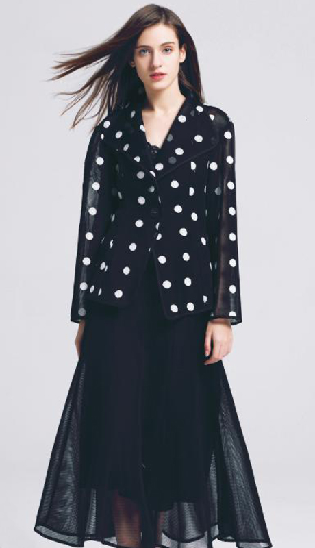 Jerry T SR-7225-BW ( 1pc Sheer One Button Up Long Sleeve Polka Dot Jacket )