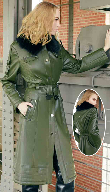 Just Vinci 16001-OL ( 1pc Novelty Leatherette Fabric Coat With Stretchable Belt & Detachable Faux Fur Collar )