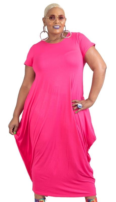 KaraChic CHH18028L ( 1pc Short Sleeve Knit Maxi Dress )