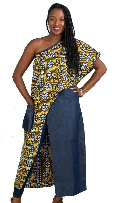 KaraChic 7505 ( 1pc One Shoulder African Print Denim Tunic Duster )