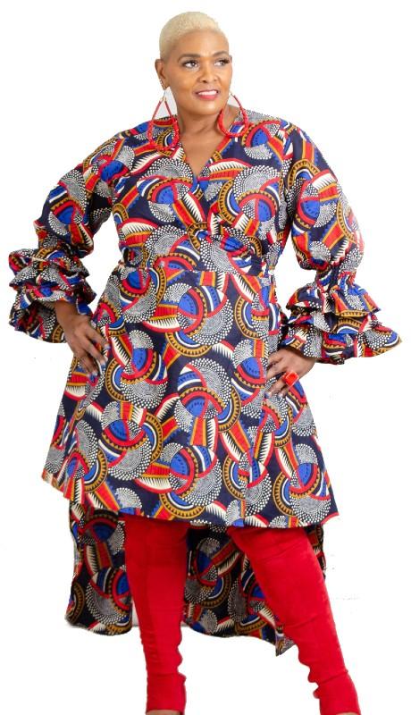 KaraChic 7511 ( 1pc African Print Tier Ruffle Sleeve Dress )