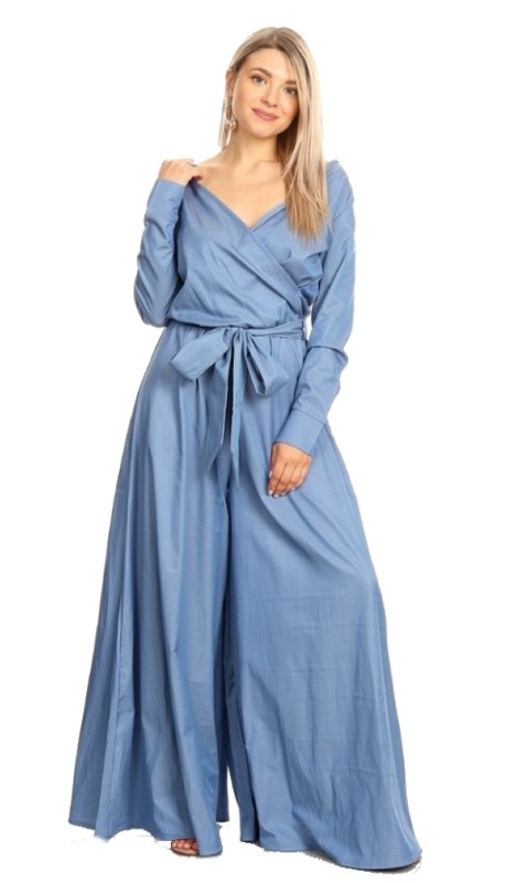 Karen T Designs 1857 ( 1pc Wrap Belted Waist Wide Leg Jumpsuit )