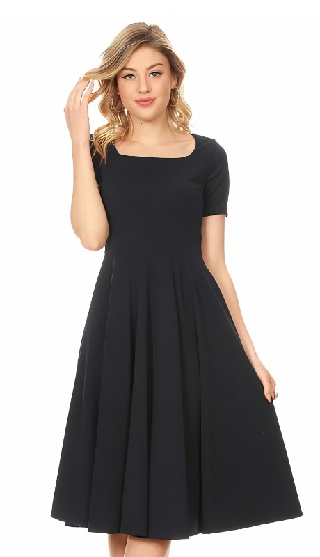 Karen T Designs 1971 ( 1pc Short Sleeve A-line Crepe Dress )