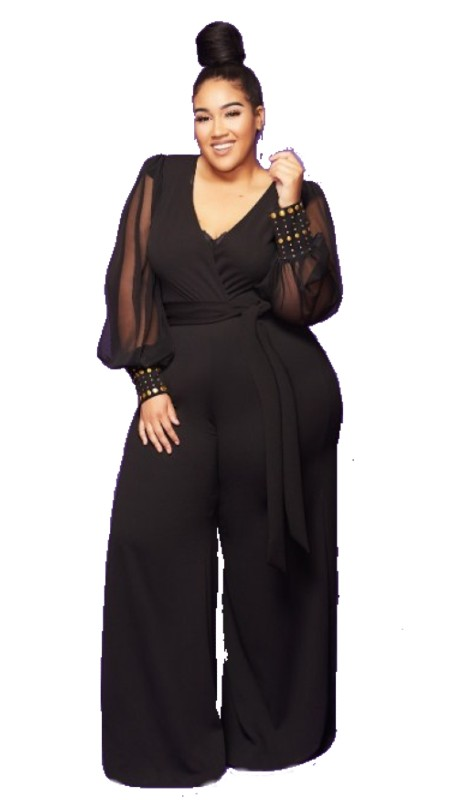 Karen T Designs 2016BN ( 1pc Sheer Sleeve V-neck Jumpsuit )