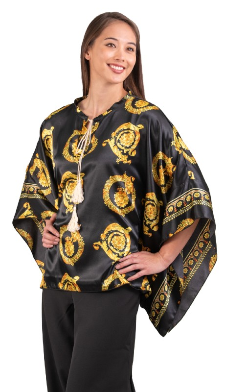 Karen T Designs 2021 ( 1pc Cord Tie Print Poncho Top )