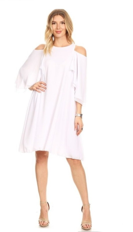Karen T Designs D2027 ( 1pc Cold Shoulder Back Zip Dress )