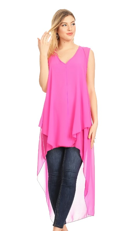 Karen T Designs 2043 ( 1pc High Low Sleeveless Sheer Top )