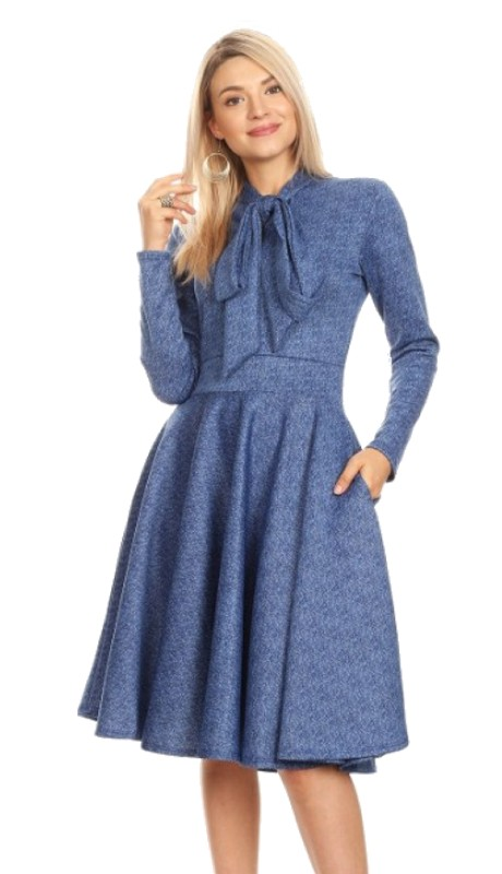 Karen T Designs 2051D ( 1pc Long Sleeve Bow Dress )
