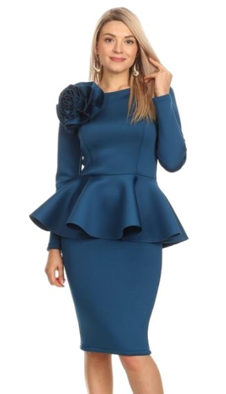 Karen T Designs 2056 ( 1pc Long Sleeve Peplum Flower Dress )