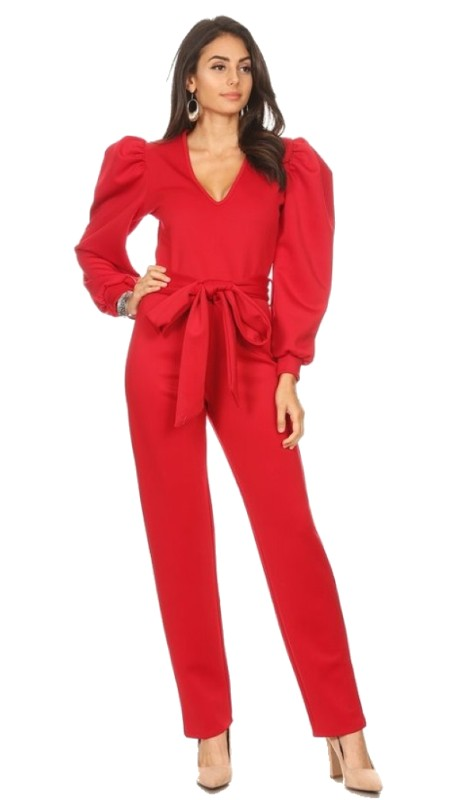 Karen T Designs 2060 ( 1pc Puff Sleeve V-neck Jumpsuit )