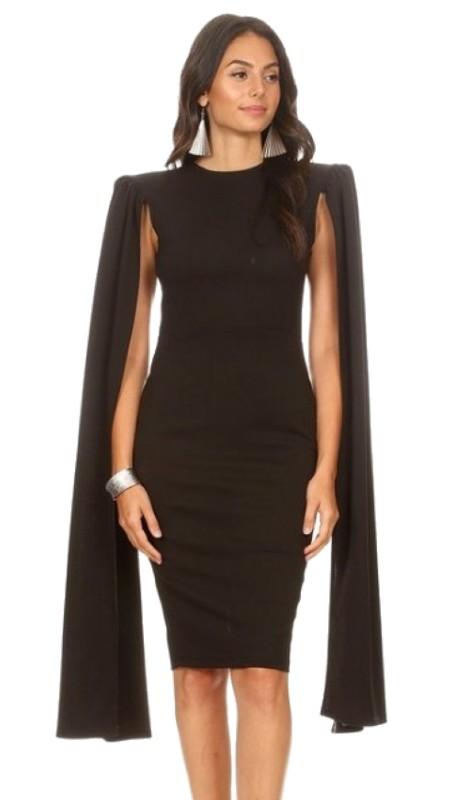 Karen T Designs 2063 ( 1pc Open Sleeve Midi Cape Dress )
