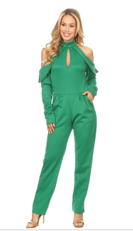 Karen T Designs 2511 ( 2pc Keyhole Ruffle Cold Shoulder Jumpsuit )