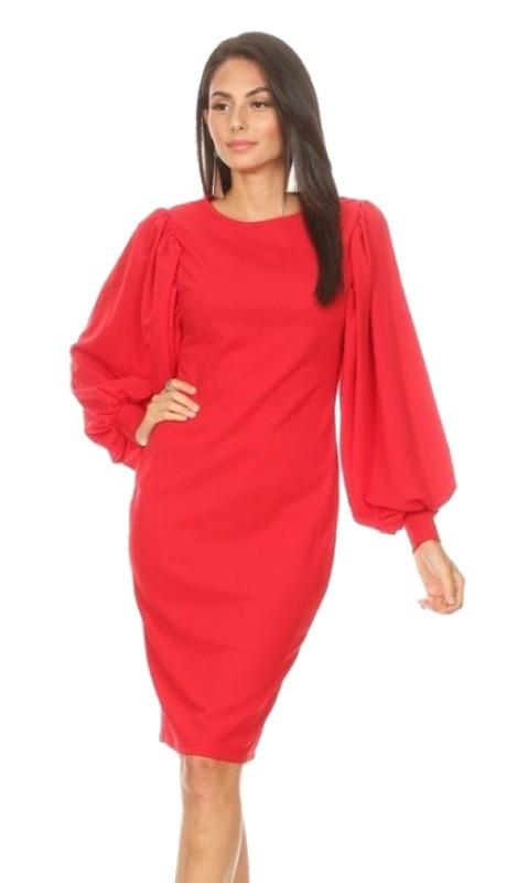 Karen T Designs 5014X ( 1pc Puff Sleeve Zipper Dress )