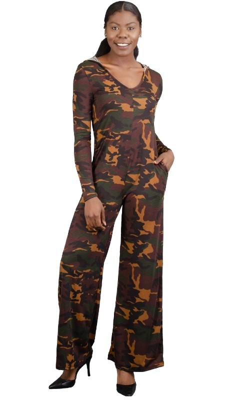 Karen T Designs 5018 ( 1pc Combo Print Hoodie Pockets Jumpsuit )