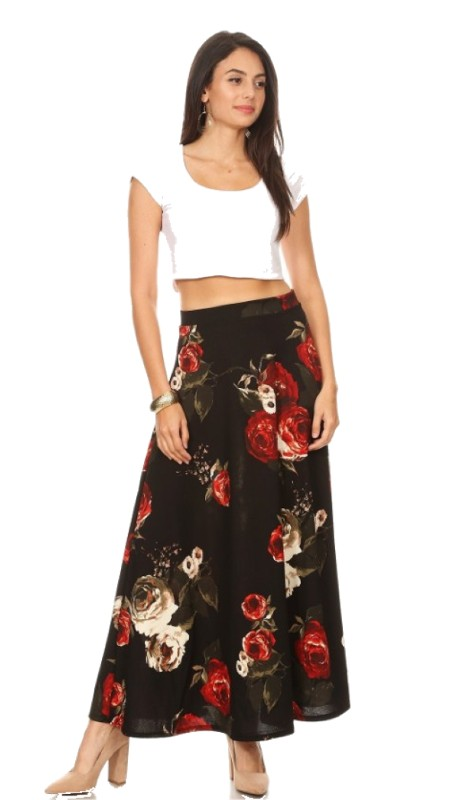 Karen T Designs 5020P ( 1pc Print Elastic Waist Maxi Skirt )