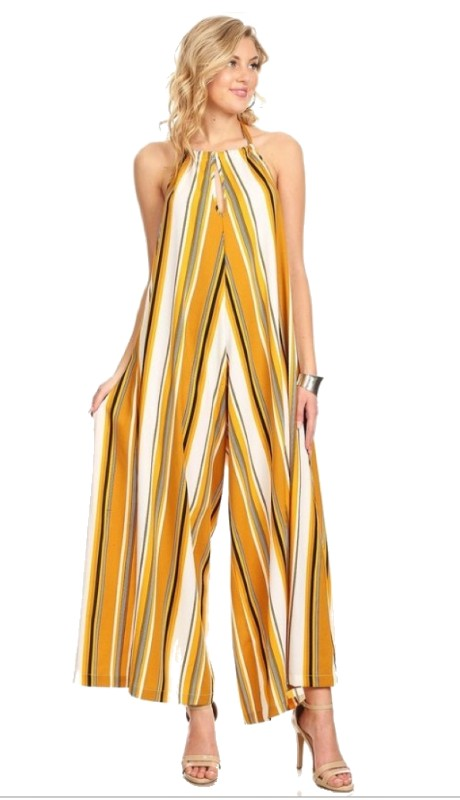 Karen T Designs 5025 ( 1pc Vertical Striped Halter Jumpsuit )