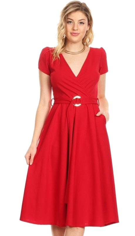 Karen T Designs 5026 ( 1pc Cap Sleeve Belted Pocket Dress )