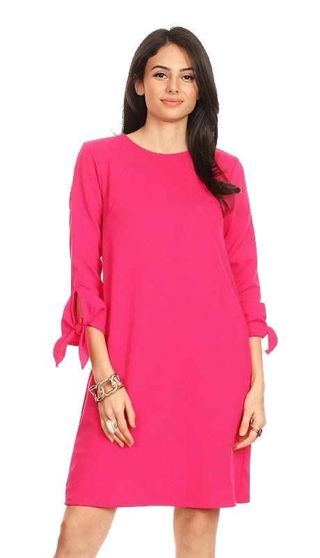 Karen T Designs 5047 ( 1pc Round Neck Tie Sleeve Crepe Dress )