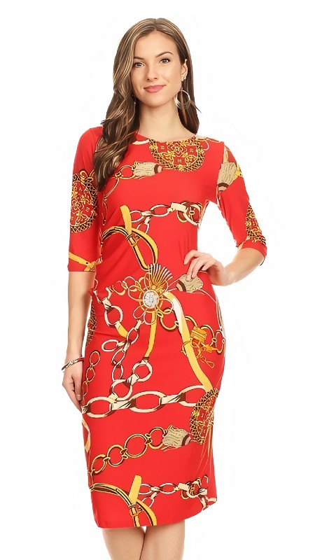Karen T Designs 5051 ( 1pc Side Gather Status Print Dress )