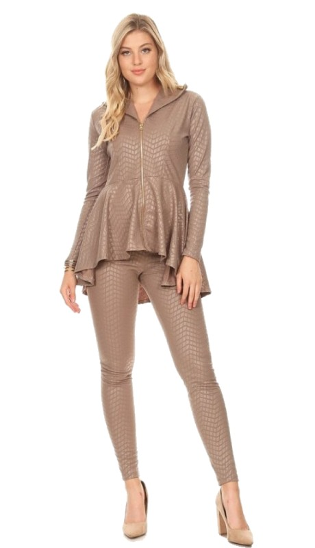 Karen T Designs 5052 ( 2pc Zipper Jacket Knit Pant Set )