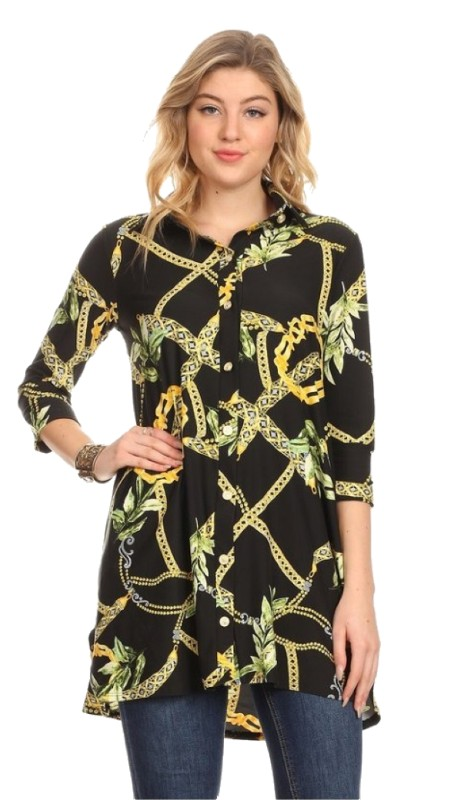 Karen T Designs 5053 ( 1pc 3/4 Sleeve Knit Tunic Top )