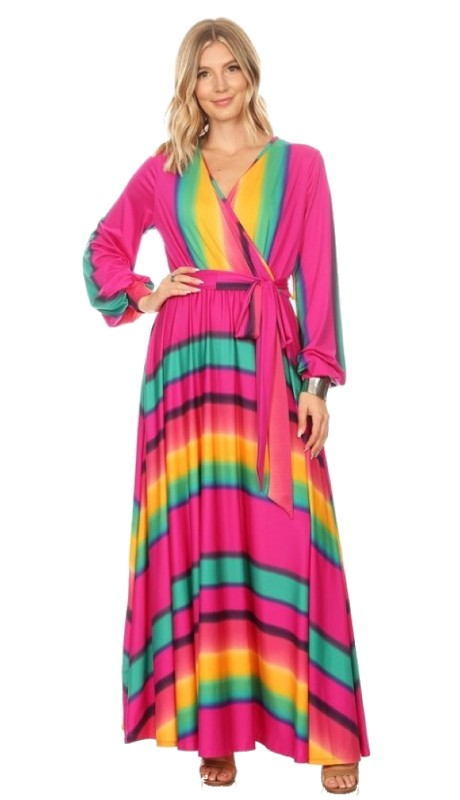 Karen T Designs 5056M ( 1pc Long Sleeve Print Maxi Dress )